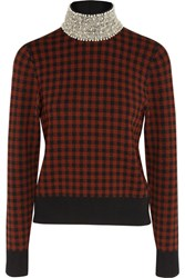 Ganni Loras Embellished Jacquard Knit Turtleneck Sweater Brick