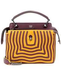 Fendi Dotcom Click Suede And Leather Shoulder Bag Yellow