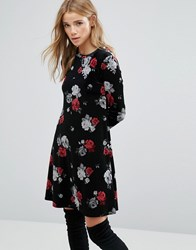 New Look Floral Velvet Swing Dress Black Pattern Red