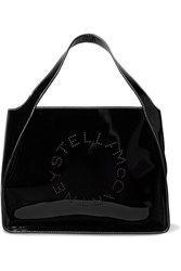 Stella Mccartney Perforated Faux Patent Leather Tote Black