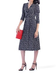 Jolie Moi Printed Knot Front Dress Black Leafy