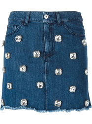 Au Jour Le Jour Rhinestone Embellished Denim Skirt Blue