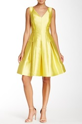 Carmen Marc Valvo Pleated Textured Fit And Flare Dress Yellow