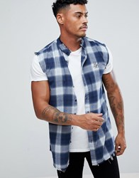 Sik Silk Siksilk Sleeveless Muscle Shirt In Blue Check