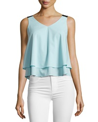 Design History Layered Chiffon Tank Spa Blue Onyx