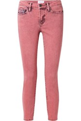 Current Elliott The Stiletto Cropped Mid Rise Skinny Jeans Pink