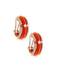 Adolfo Courrier Orange Enamel And Sapphire Earrings With Diamonds