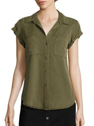 Paige Mila Patch Pocket Blouse Desert Olive