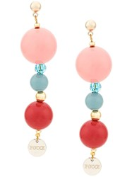 Emilio Pucci Long Beaded Earrings Pink