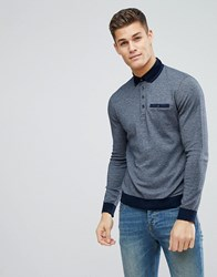 Ted Baker Longsleeve Polo With Contrast Collar Grey