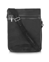 Moreschi Black Techno Fabric Large Messenger Bag