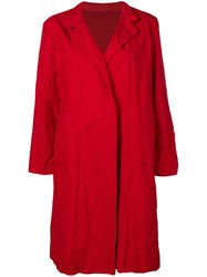 Daniela Gregis Creased Single Breasted Coat Red