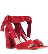 Gianvito Rossi Nika Suede Sandals Red
