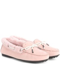 Tod's City Gommino Suede Loafers Pink
