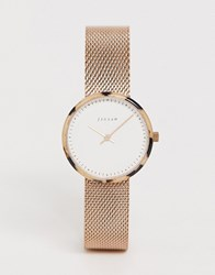 Jigsaw Mesh Watch In Rose Gold Pink
