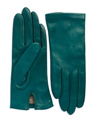 Lord And Taylor Silk Lined Leather Gloves Peridot