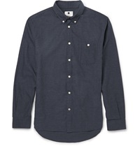 Nn.07 New Derek Slim Fit Brushed Cotton Flannel Shirt Blue