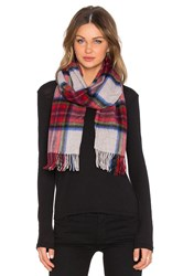 Scotch And Soda Multicolour Check Scarf With Fringes Red