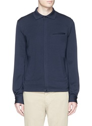 Faconnable Spread Collar Blouson Jacket Blue