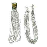Peculiar Vintage Jewellery Curio Heart Block Tassel Earrings Silver