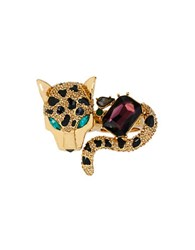 Betsey Johnson Pave Leopard Two Finger Ring Multi