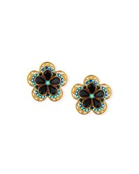 Jose And Maria Barrera Crystal Flower Button Clip On Earrings
