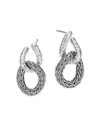 John Hardy Sterling Silver Classic Chain Hammered Double Circle Drop Earrings