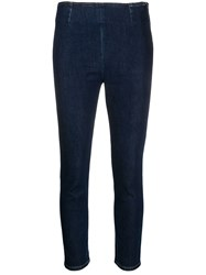 L'autre Chose Cropped Zip Up Skinny Jeans Blue