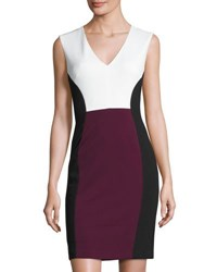 Catherine Malandrino Sleeveless Colorblock Sheath Dress Black White