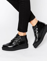 T.U.K. Stud Point Creeper Leather Flat Ankle Boots Black Leather