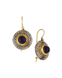 Konstantino 18K Gold And Sterling Silver Round Amethyst Drop Earrings
