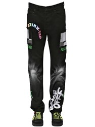 Off White Embroidered Relaxed Cotton Denim Jeans Black