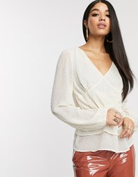 Na Kd Flounce Dotted Blouse In Light Beige White