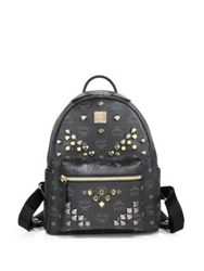 Mcm Stark M Stud Small Coated Canvas Backpack Cognac Black