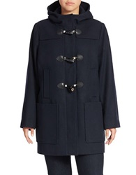 Michael Kors Plus Hooded Toggle Coat Navy Blue