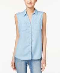 Maison Jules Sleeveless Shirt Only At Macy's Chambray