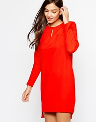 Paisie Shift Dress With Pocket Detail Red