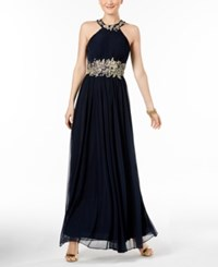 Betsy And Adam Embroidered Mesh Gown Navy Gold