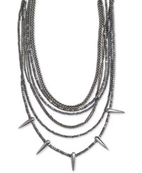 King Baby Studio Hematite Multi Strand Spike 18 Statement Necklace In Sterling Silver
