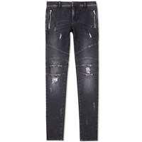 Balmain Slim Distressed Biker Jean Black