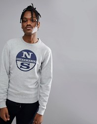North Sails Lowell Logo Sweat In Grey Grey Melange