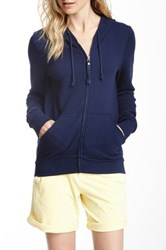 Michael Stars Hooded Zip Sweater Blue