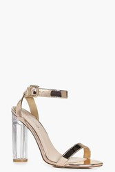 Boohoo Metallic Two Part Cylinder Clear Heels Rose Gold