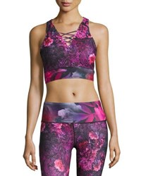 Nanette Lepore Play Baroque Print Lace Up Crop Top Multi Pattern