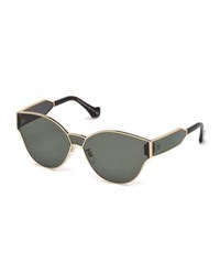 Balenciaga Monochromatic Shield Cat Eye Sunglasses Rose Gold Green