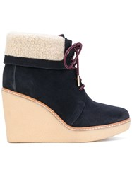 Tommy Hilfiger Wedge Boots Leather Suede Wool Rubber Blue