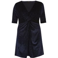 River Island Womens Plus Navy Sparkly Velvet Knot Dress