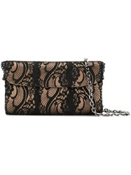 Casadei Foldover Lace Clutch Bag Women Satin One Size Brown