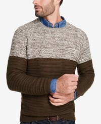 Weatherproof Vintage Men's Colorblocked Marled Sweater Military