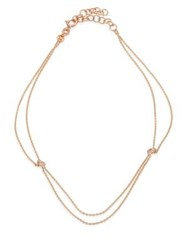 Kismet By Milka Beads Diamond And 14K Rose Gold 2 Chain Anklet